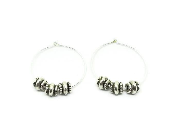 Silver Beaded Hoop Earrings, Tibetan Silver Earrings, Silver Plated Hoop Earrings, Unique Birthday Gift, Beaded Silver Hoops