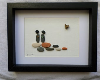 Table of lovers in pebbles and sea glass, Declaration of love, engagement, wedding anniversary gifts.