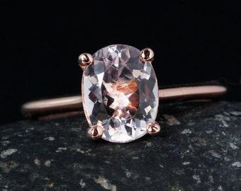 Rose Gold Pink Morganite Engagement Ring - Oval Morganite - Solitaire Setting