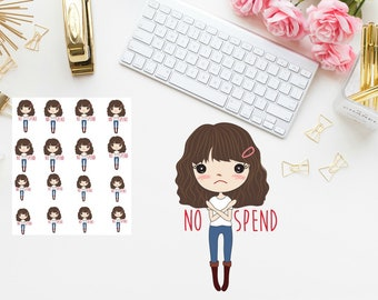 No Spend girl Shoes Planner stickers