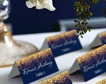 Gold Sparkle and Navy Wedding Place Card Tents, Place Cards, DIY Place Card Printable, code-024-2