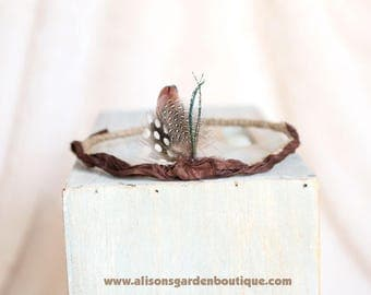 Newborn to Adult Feathered Crown Halo Headband- Dark Brown Tan- Feathers-Twine-Photography Prop- Made to Order