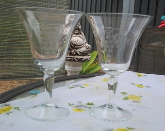 Pair of Mid Century Wine Glasses with etched Grape design