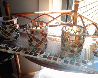 Mosaic Amber and Greens Glass Tray with three Tea Light Holders - Vintage