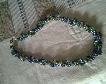Multi Coloured Rolled Seed Bead Necklet - Vintage