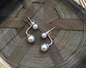 Sterling Silver and Grey Pearl Ear Jacket  Earrings 6-8mm
