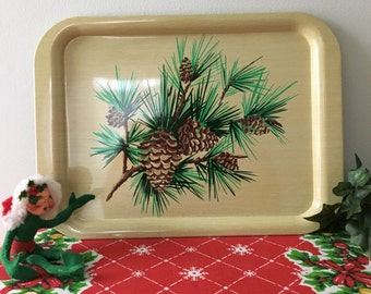 1960's  Christmas Metal Serving Tray