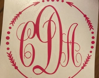 "MONOGRAM/Multiple Colors to choose from/Decal/3""x3"" / 4""x4"" / 5""x5"""
