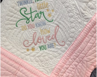 Monogrammed Baby Quilt Personalized Baby Quilt baby crib blanket quilted baby blanket baby heirloom quilt baby gift