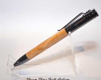 Tasmanian Timber Bolt Action Pen. Huon Pine, Sassafras or Blackwood. Engraving Available.