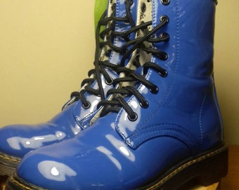 Royal blue patent Air Wair 8 eyelet boots.