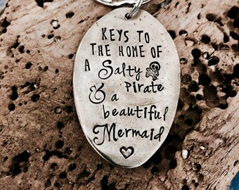 Keys to the home of a Salty Pirate & a Beautiful Mermaid Vintage Spoon Key Ring Upcycled Beach Sea