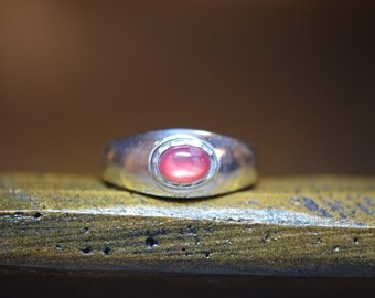 Vintage Sterling Silver Red Pink Gemstone Band, US Size 8.75, Used
