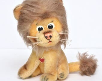 RARE Vintage Berg Austria Stuffed Lion Plush Toy 1950's