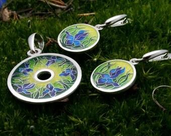 Cloisonne hot enamel silver  set  Irish flower Hot enamel earrings Hot enamel pendant Cloisonne jewelry set Enamel jewelry  Gift for her
