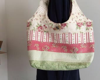 Shabby chic purse, cotton purse, reversible purse