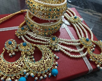 Sale sale sale Indian/Pakistani  Traditional Hyderabadi chandballi Pearls Jewellery Set only