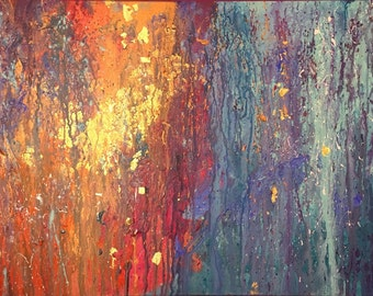 Fusion - Original Painting -Acrylic, Henna and Gold Leaf on Deep Edge Canvas 70 cm x 50 cm