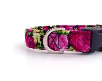 Bright Floral Dog Collar | Dog Collars | Girl Dog Collar | Rose Dog Collar | Pink Floral Dog Collar | Small Dog Collar | Puppy Collar