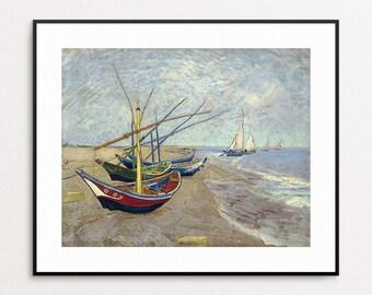 Vincent Van Gogh - Fishing boats on the beach at Les Saintes-Maries-de-la-Mer, 1888 - Van Gogh Boats - Van Gogh Ocean Art Print - Wall Art