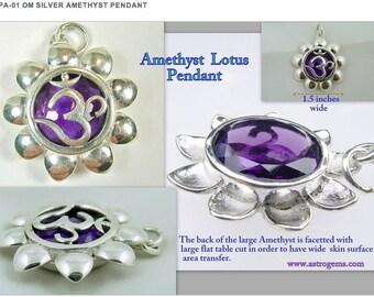 Om Silver Amethyst Pendant AP-05