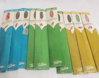 10 Vintage Talon Invisible Zippers 14,16,18,20,22 inches Mulit color Red Black Blue Pink Green