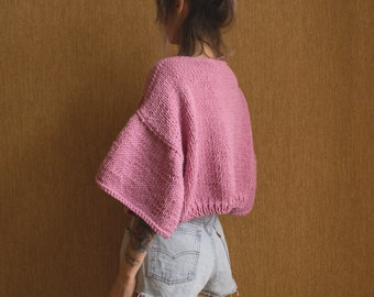 Cropped Sweater. Baby Pink Chunky Sweater. Hand knit Crop Top. Top with Flounce Sleeves. Sweater with Bell Sleeves. Boho Style Top