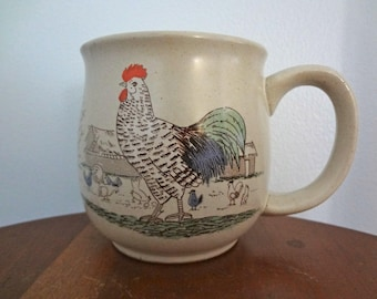 Rooster and Chicken Farm Themed Tan Retro Coffee/Tea Mug