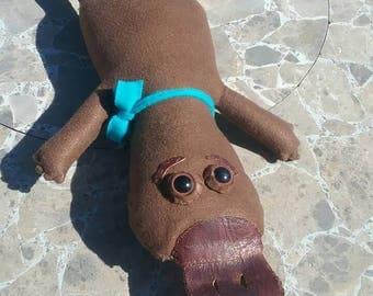 Brown Leather Platypus Plushie/Stuffed Animal