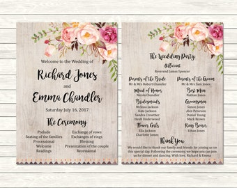 Printable Rustic Boho Wedding Program, Floral Tribal Wedding Program, Peonies Order of Service, Boho Order of the Ceremony, Download 109-A