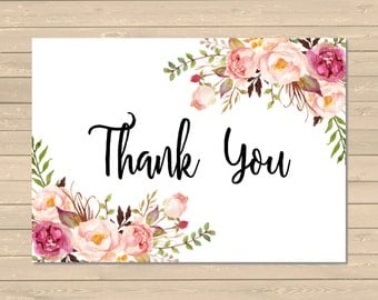 Printable Floral Boho Thank You Card, Pink Floral Thank You Card, Flat Postcard Style Thank You, Peonies Thanks Instant Download, 025-W