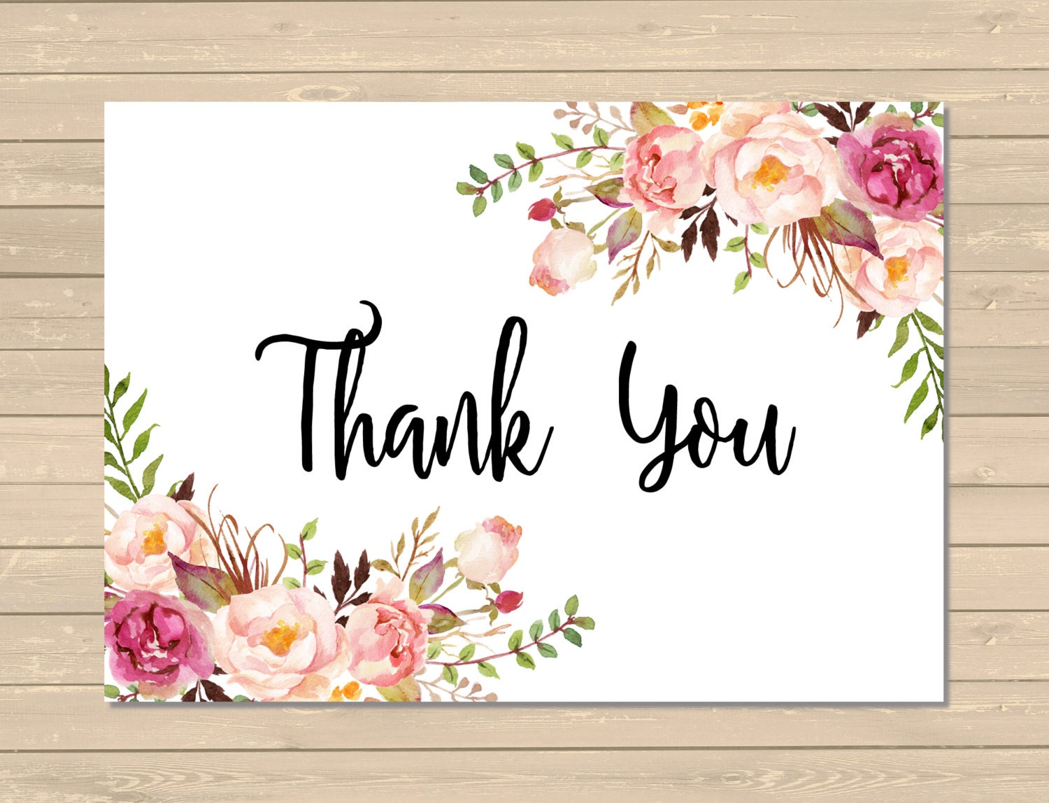 printable floral boho thank you card pink floral thank you