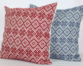 Red throw pillow covers 24x24 euro pillow covers 20x20 standard pillow shams euro sham 26x26 pillow cover blue throw pillows decorative