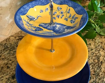 Three Tier Cake Stand, Jewelry Stand, Vanity Stand, Tray, Cupcake Stand, Dessert, Appetizer, Tidbit, Vintage, Blue and Yellow, Hippo