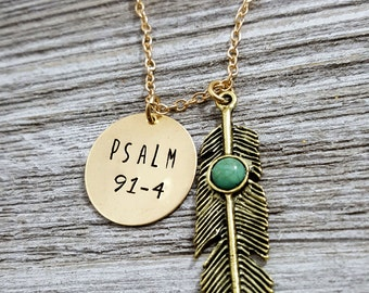 Psalm 91-4- Feather Necklace