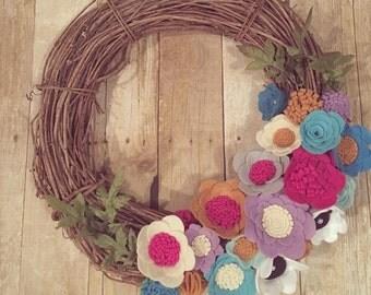 Wool Felt Flower Wreath Handmade