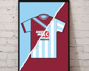 93-95 West Ham Home x 91-92 Away Print