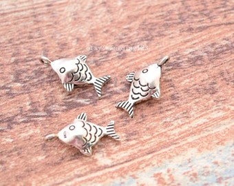 3 pcs fish charms pendants in oxidized sterling silver, LX1