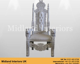 NEW Lion King Queen Throne Chair - White & White leather