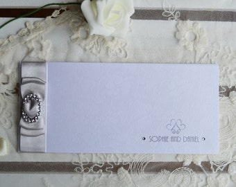 Cheque Book Wedding Invitation - with RSVP - Silver Dior Bow SAMPLE