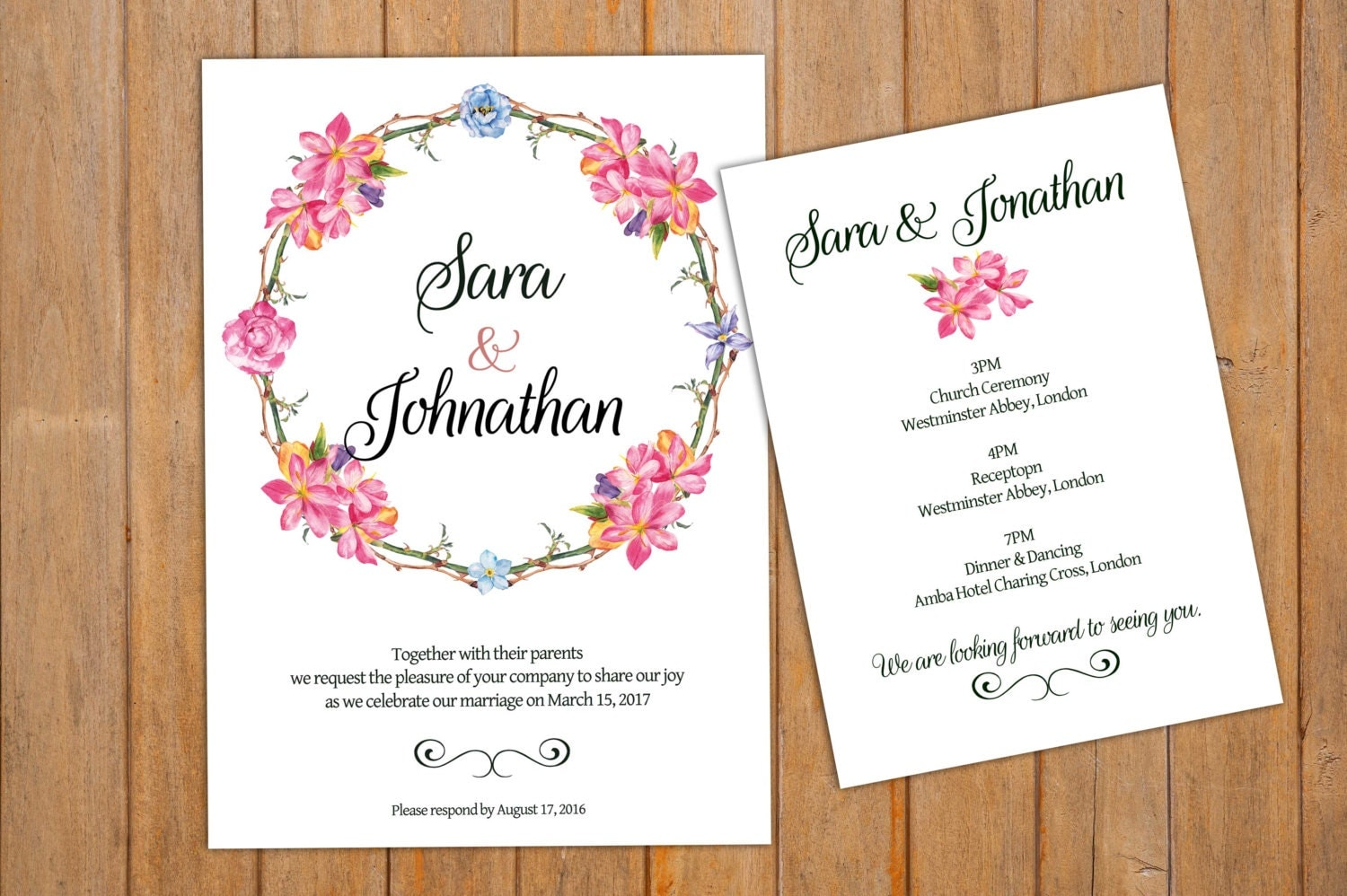 Printable Wedding Invitation, Program Card, Printable Invitation ...