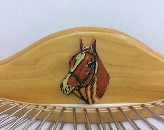 Vintage Equestrian Horse Head Tie Rack