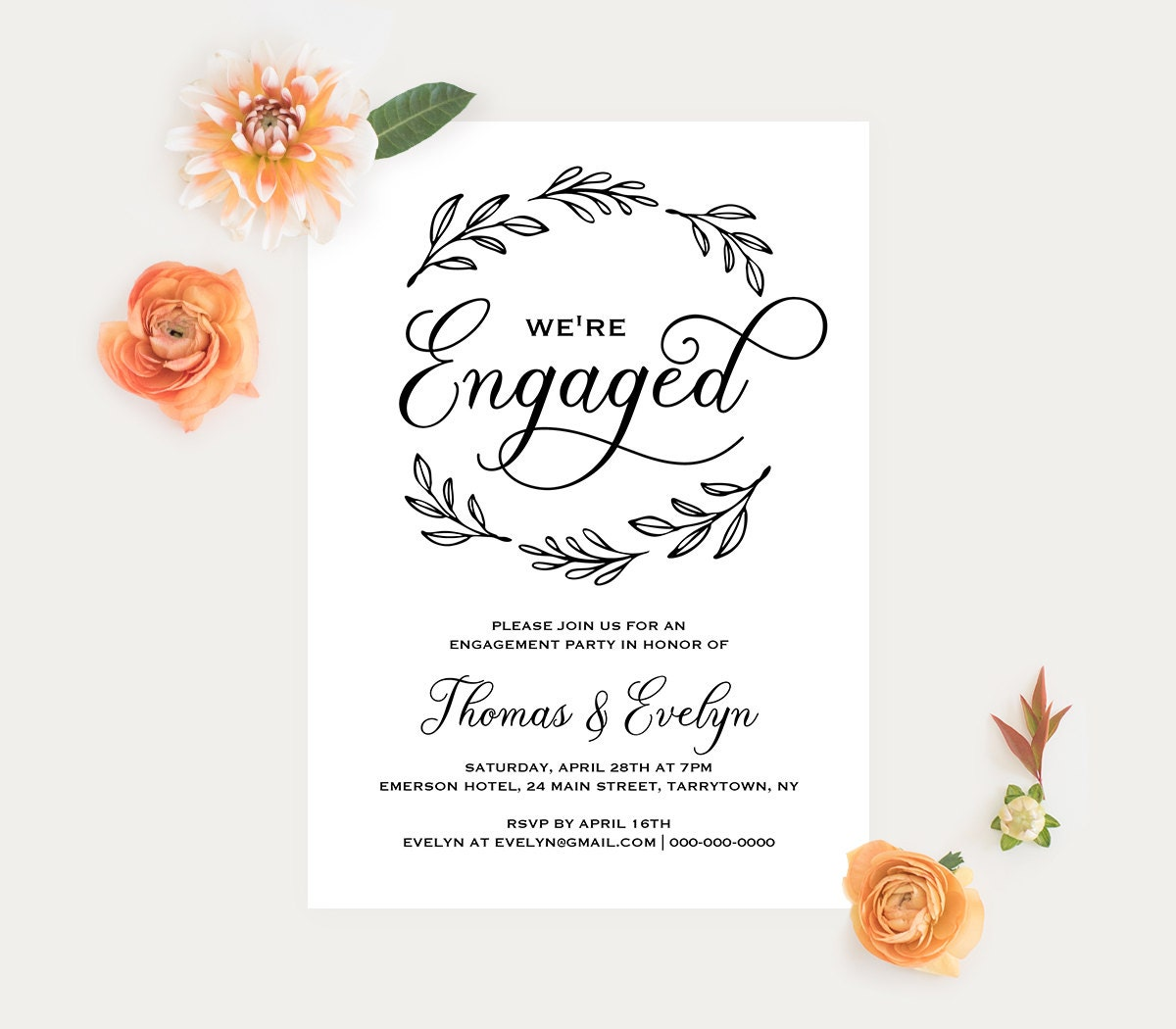 Engagement Invitation Template Printable Wedding