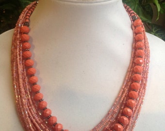 Coral Stone and Glass Beaded Necklace and Metal.