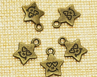 Star Charms -50 pieces Antique Bronze Empty Stars Charm Pendants 14mm x 11 mm (501-13-B)