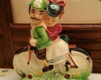 Vintage Romancing Couple on bike  Ceramic Figurine made in Japan