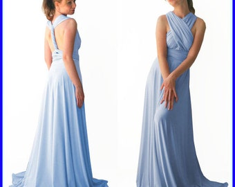 Baby Blue Infinity Dress - floor length in baby blue color wrap dress  +55 colors