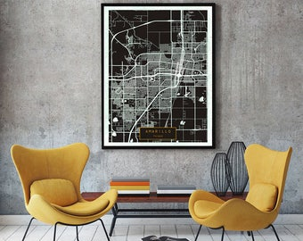 AMARILLO Texas City Map Amarillo Texas Art Print Amarillo Texas poster Amarillo Texas map art United States of America Poster