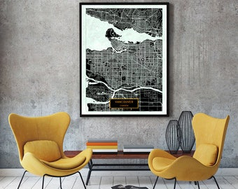 VANCOUVER Canada CANVAS Large Art City Map Vancouver Canada Art Print poster map art jt Wall Art Home Decor JackTravelMap