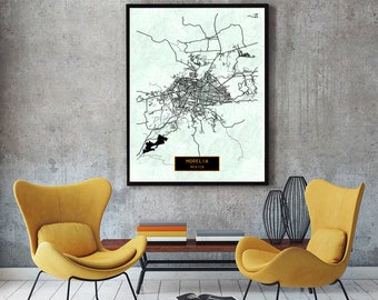 MORELIA Mexico CANVAS Large Art City Map Morelia Mexico Art Print poster map art jt JackTravelMap